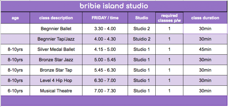 FDS - Bribie Island Studio Timetable