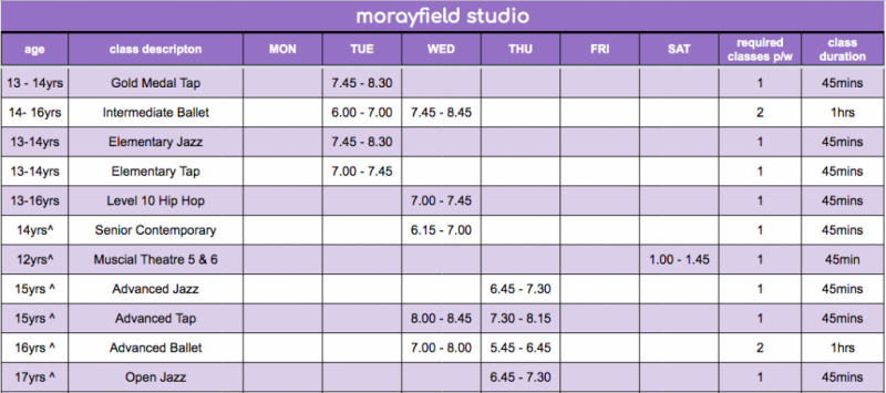 FDS - Morayfield Studio Timetable 4