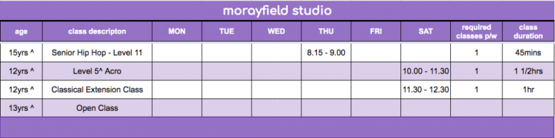 FDS - Morayfield Studio Timetable 5